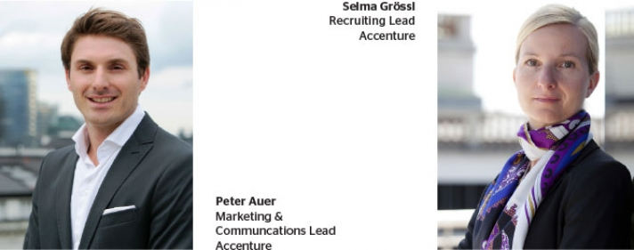 Selma Grössl (Recruiting Lead Accenture) und Peter Auer (Marketing &  Communcations Lead Accenture)